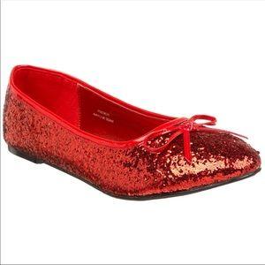NWOT red Funtasma glitter wizard of Oz Star flats